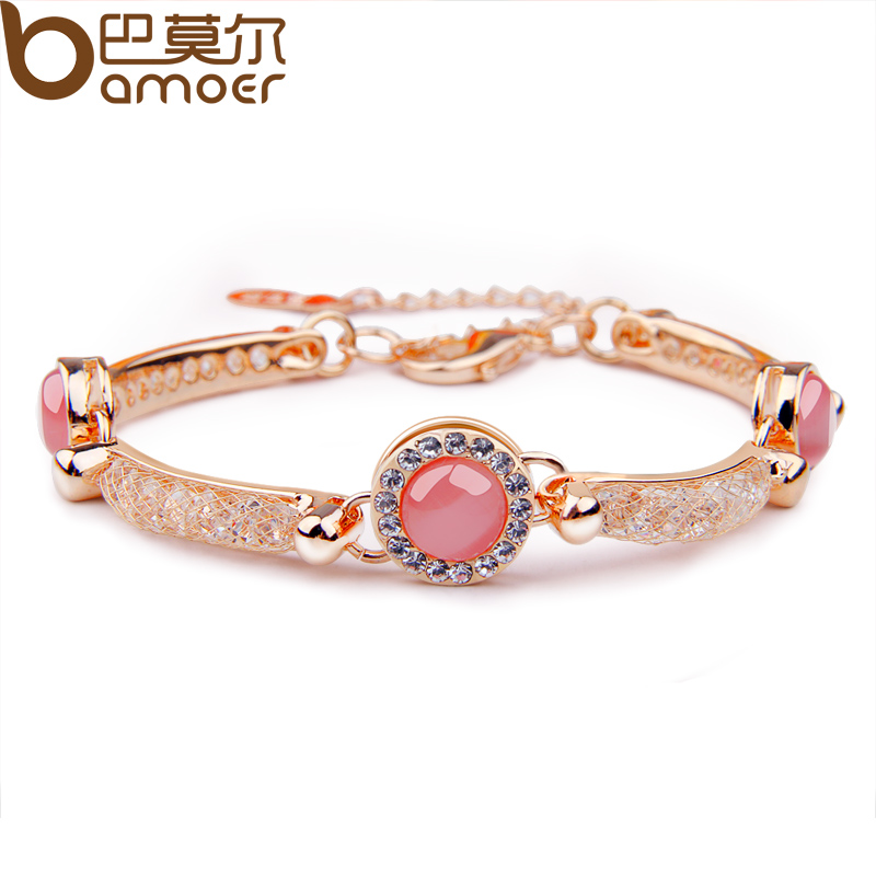 Bmaoer Luxury 18K Rose Gold Plated Bracelet with Red Opal For Women Wedding AAA Zircon Crystal Jewelry JSB027(China (Mainland))