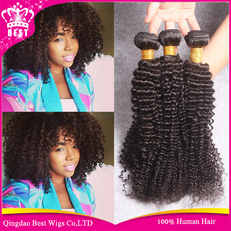 6A Brazilian Kinky Curly Virgin Hair Extensions 3 Bundle Brazilian Afro Kinky Curly Weave Hair Natural Hairstyle For Black Women(China (Mainland))