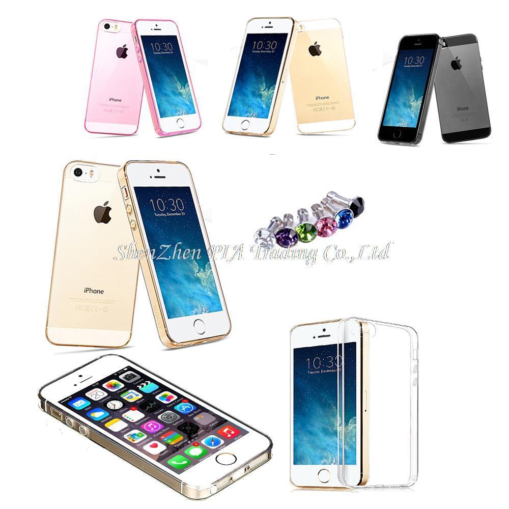 Black White Golden Slim Soft Back TPU Cover Shell For Apple iPhone 5 5S For i5 Clear Crystal Mobile Phone Case For iPhone 5 5S(China (Mainland))