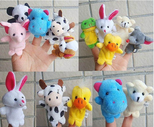 finger double layer tape animal puppet means tell the story good doll plush toys for children(China (Mainland))