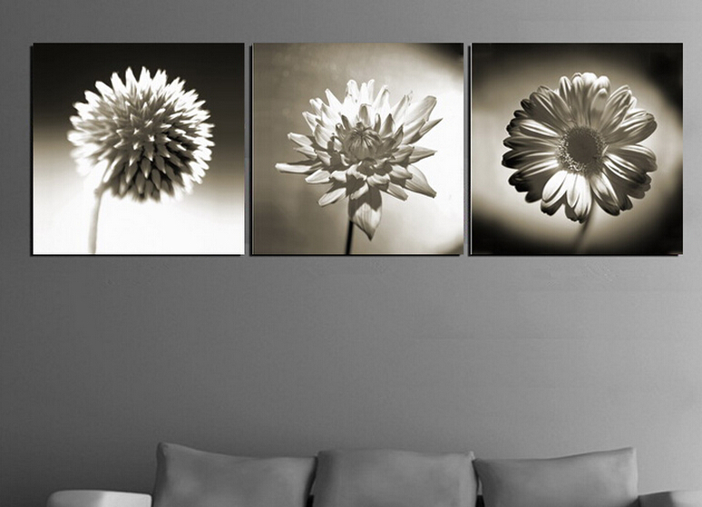 Black And White Floral Wall Decor : High quality modern wall art picture printed on canvas