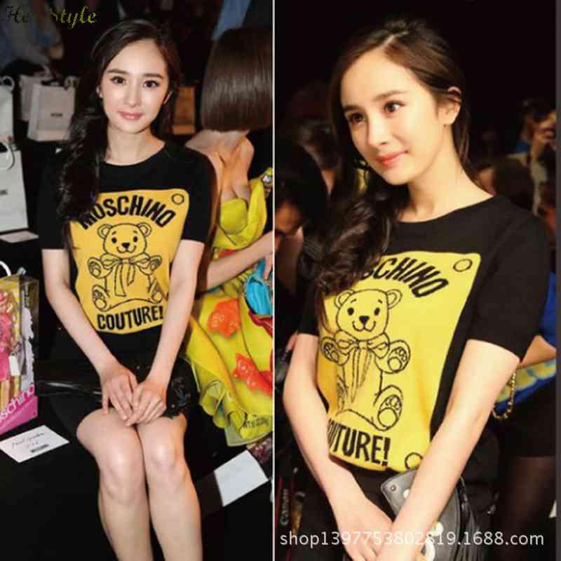 Free Shipping 2015 vintage little black dress bear printed crew neck short sleeve runway 1427593333(China (Mainland))