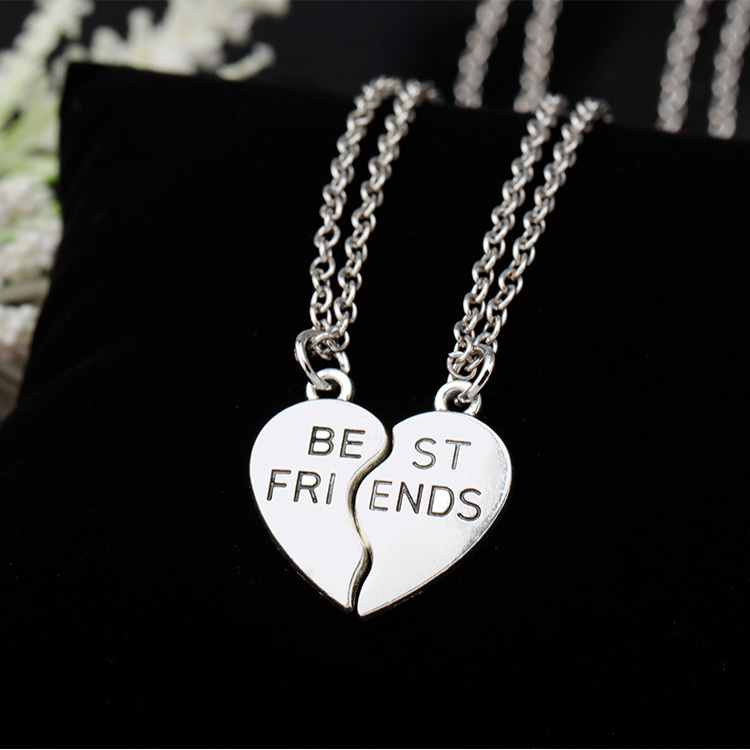 New collier choker necklace heart pendant pieces broken two best friend forever necklace women necklace jewelry collares mujer(China (Mainland))