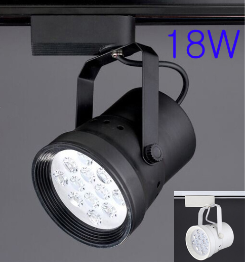 AC90-260V 18W Led Modern Track Light Fixture For Shoes Shop White/Black Aluminum Body Free Shipping(China (Mainland))