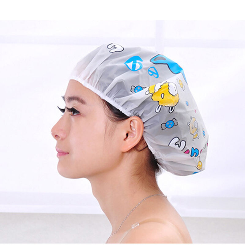 Lovely Cartoon Shower Caps Women Waterproof Caps Ladies Clear Bath Spa Caps Elastic Bath Hats Bathroom Products(China (Mainland))