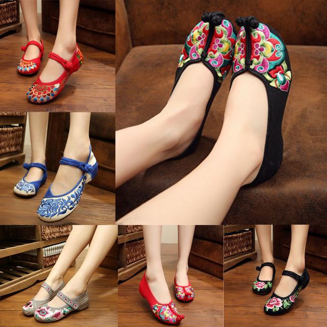 Размер 34 - 41 весна лето женщина старый ткани обувь китайский цветок вышивка свободного ...