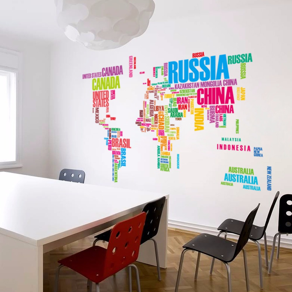 Large World Map Wall Sticker World Map Wall Stickers