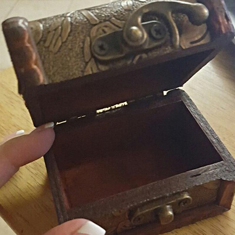 Wood Box Vintage Small Metal Locking For Gift Jewelry Treasure Chest Handmade Decorative Storage Cases(China (Mainland))