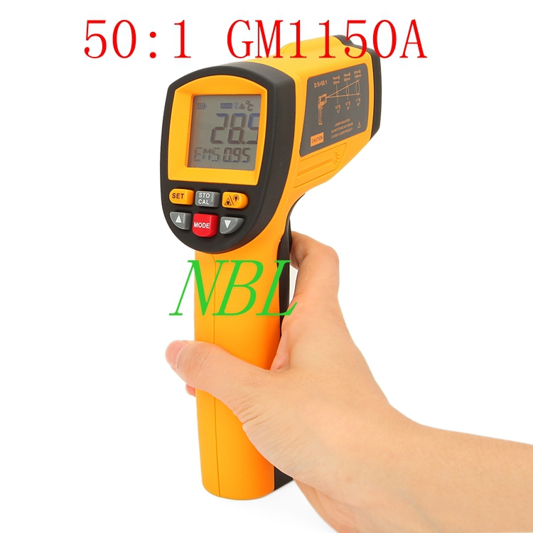 Brand New 50:1 Infrared Thermometer -18degree ~ 1150degree (0F -2102F) Professional Industrial Pyrometer 0.1~1EM Free shipping(China (Mainland))