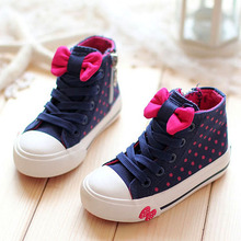 2015 Hot-selling Spring Autumn Bowtie Children Shoes Girls Shoes High-top Lace Girls Canvas Shoes Bowknot Kids Sneakers(China (Mainland))