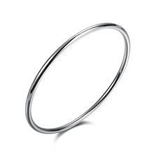 Casual Simple Round Design 3MM Single Ring Silver Plated Bangles Jewelry Bracelets For Women/Men Vintage Accessories QA0488