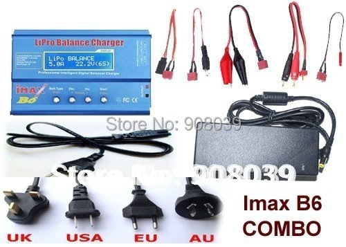 IMAX B6 Combo with 12V 5A AC Adaptor 2S-6S 7.4v-22.2V AC/DC Charger with Leads & LiPo Battery Balance Charger