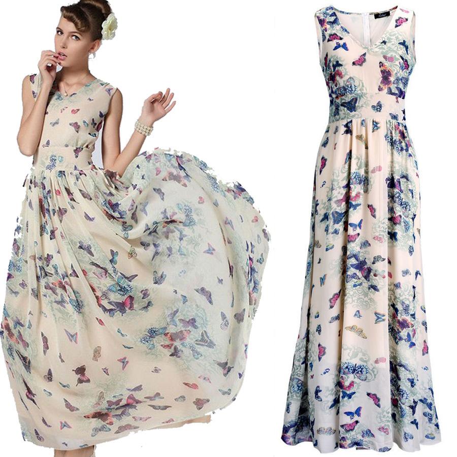New arrival bohemian dresses butterfly print floral elegant chiffon party dresses long dress sleeveless fashion beach dress long(China (Mainland))