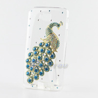 Fashion Crystal Blue Peacock Bling Handmade Hard Back Case Cover For LG G Pro Lite D684 D685 D686 Free Shipping