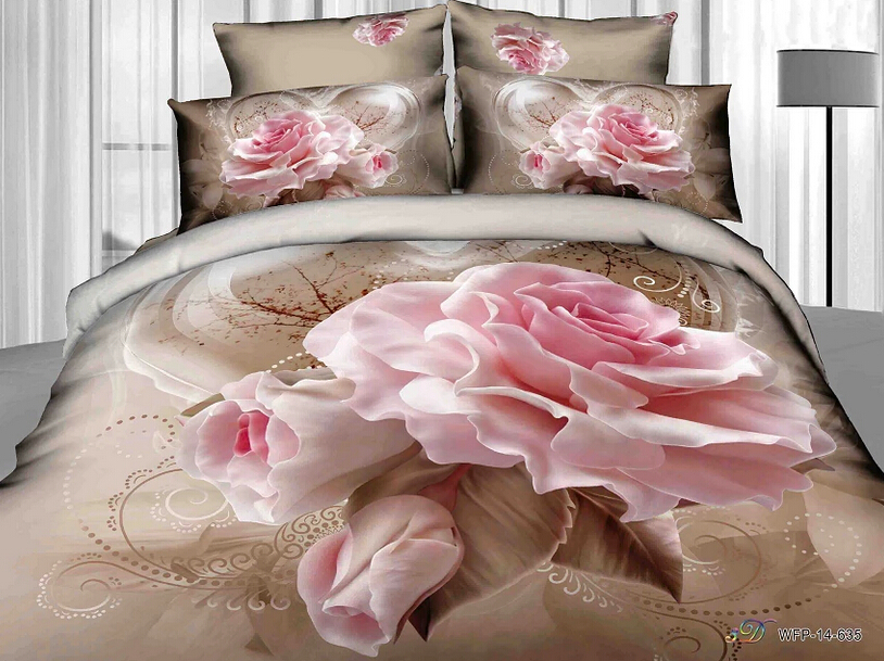 twin full size 3d pink rose flowers brown bedding shabby