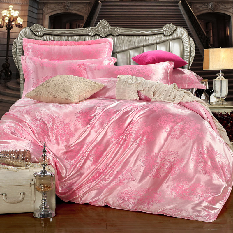 New arrive!Excellent stain/silk jacquard fabric bedding set 4 pcs,king/quee size,TTK009,free shipping(China (Mainland))