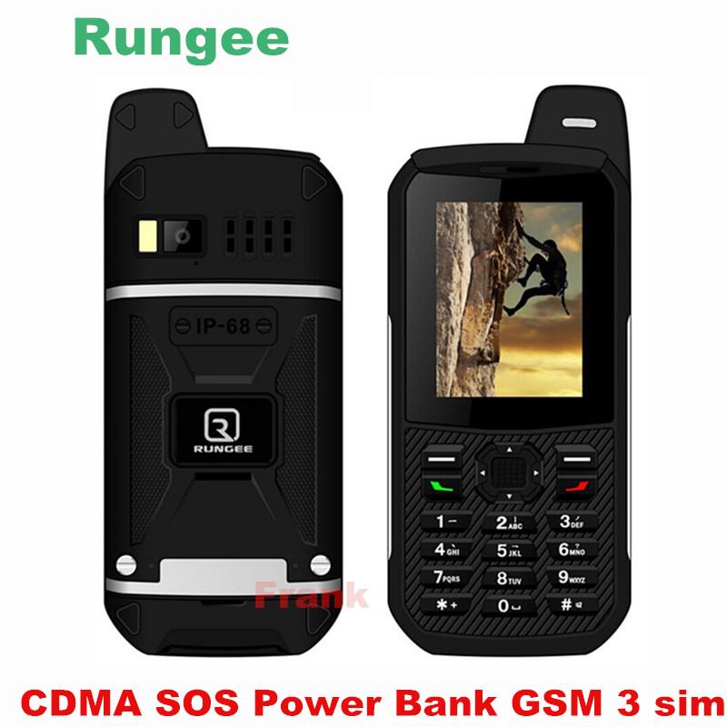 Original Rungee x1 CDMA SOS Power Bank GSM Senior old man IP68 Waterproof phone shockproof cell phone three 3 sim somin DG22 s6(China (Mainland))