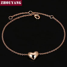 Small Heart Simple OL Style Smooth 18K Rose Gold Plated Bracelet Jewelry Wedding Party Love Gift Wholesale Top Quality ZYH199(China (Mainland))