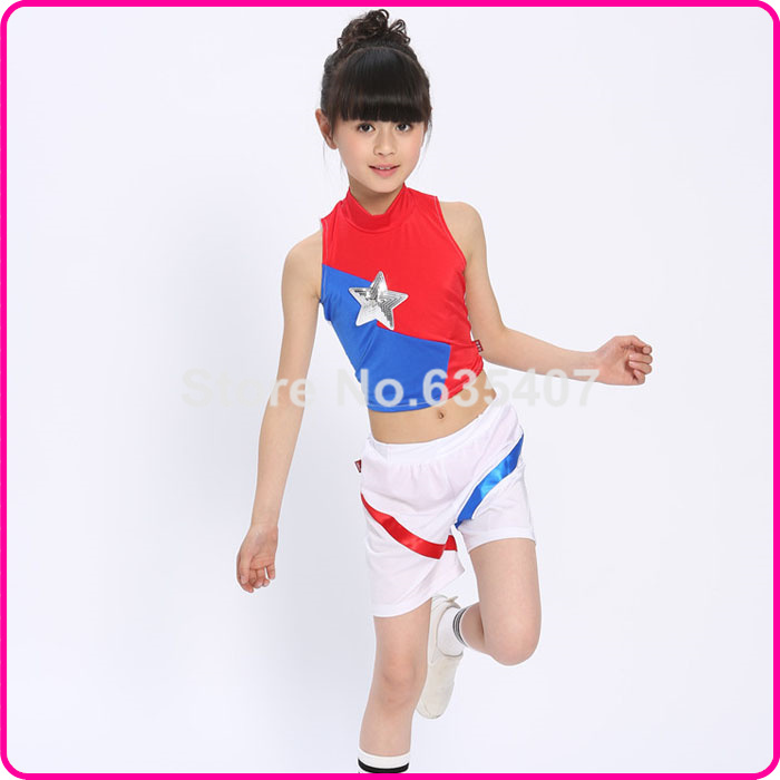 Girls Candy Color CHEER Set ,Athletic Gym Set Dance Sport Girl kit,cheering squad suit :Top+short/skirt,Freeshipping(China (Mainland))