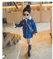 Baby Girls Denim Jackets Coat Fur Collar Parkas Plus Thick Winter Warm Children Outerwear Long