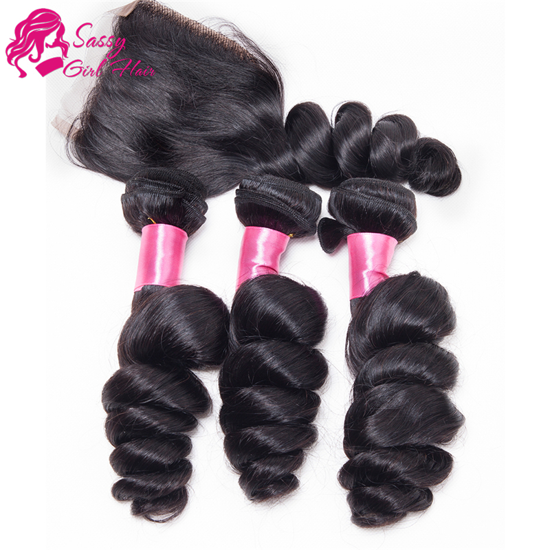 Unprocessed Malaysian Loose Wave With Closure Malaysian Virgin Hair With Closure Bundle Human Hair Weave With Closure Colour 1b