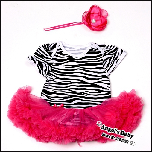 Angel's Baby #7A5415 Zebra Baby Girls Party Dresses and Rhinestone Baby Headbands Set Animal Cute Girls Rompers Baby Accessories(China (Mainland))