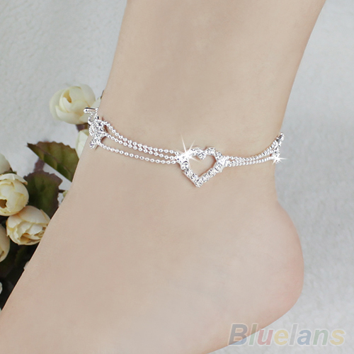 New Charm Silver Plated Bead Anklets for Women Ankle Bracelet Chain Crystal Foot Jewelry 1PMT(China (Mainland))