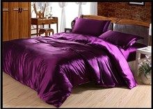 Luxury purple Natural mulberry silk comforter bedding set king size queen full twin duvet cover bed sheet mulfruit violet satin