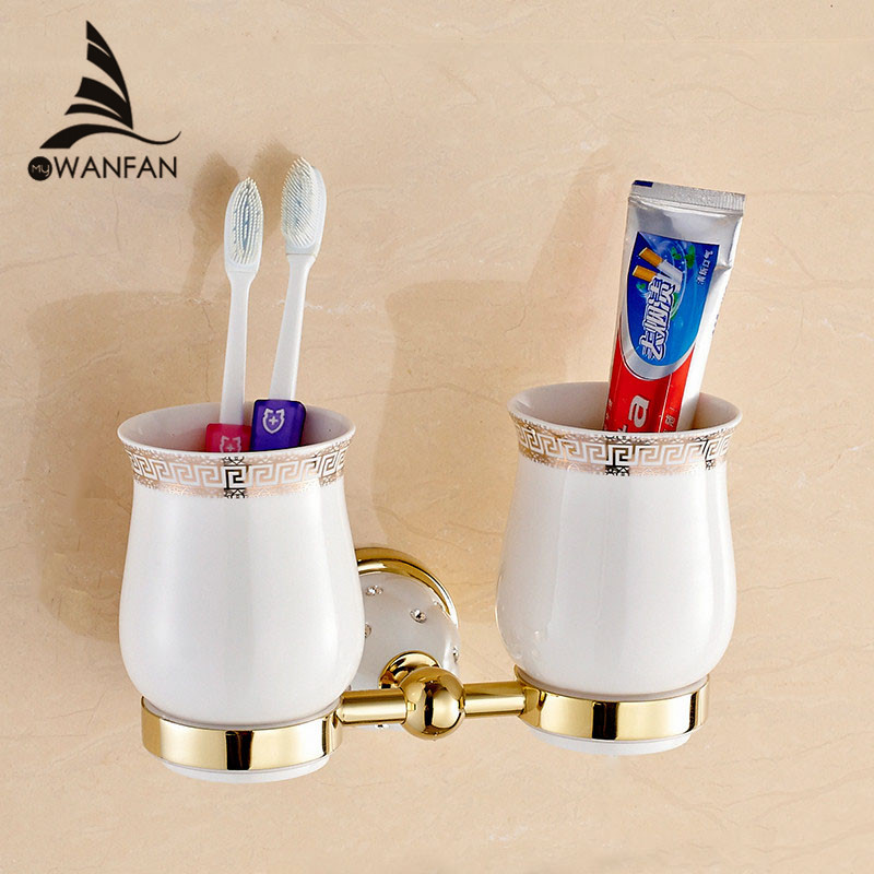 New Modern accessories luxury European style Golden copper toothbrush tumbler&cup holder wall mount bath product 5203(China (Mainland))