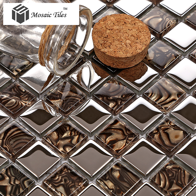 Metallic silver glass mosaics amber mother of pear marks wall stickers tile backsplash kitchen fireplace living room bath tiles<br><br>Aliexpress