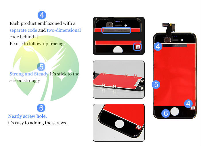 50pcs LCD Display touch screen with digitizer replacement parts for iPhone 4S GSM CDMA Free DHL Shipping