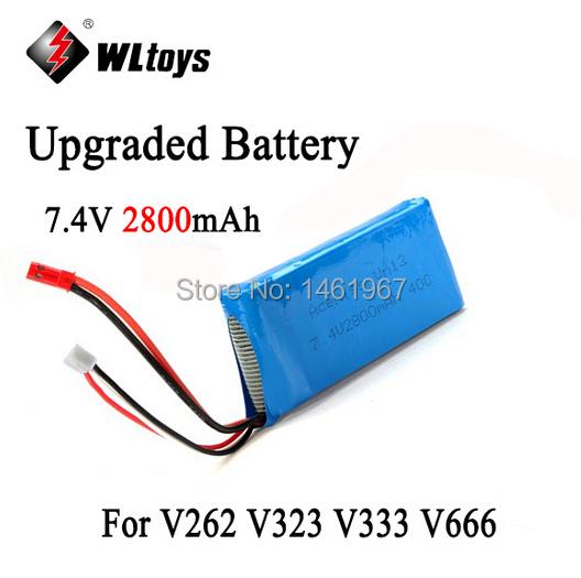 Free Shipping Wltoys Spare Parts Upgraded Battery 7.4V 2800mAh Battery for WL Toys V262 V323 V333 V666 Large Quadcopter Drone(China (Mainland))