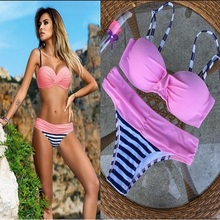 Buy bikini 2017 new sexy women swimwear brazilian Bikinis biquini Swimsuit beach swimming suit bathing suit push halter maillot for $9.46 in AliExpress store