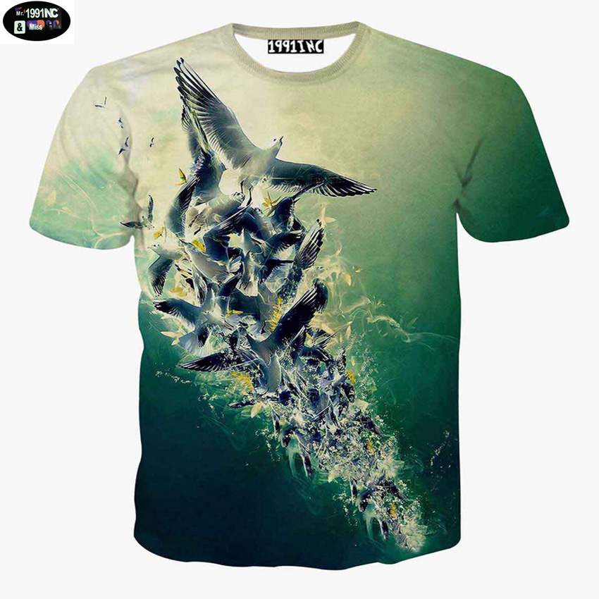2016 fashion Europe and America style 3D Seagull printed teens t-shirt short sleeve round collar kids girls tshirt tops DT4(China (Mainland))