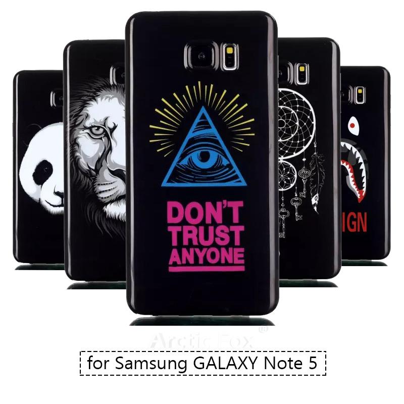 Fashion Black Design Soft Silicone TPU Cute Cartoon Phone Back Cover For Samsung GALAXY Note 5 Note5 N9200 Capa Phone Bags.(China (Mainland))