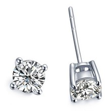 Brilliance 2Ct/Piece Round Cut Moissanite Solid 14K White Gold Engagement Stud Earrings Best Wedding Anniversary Jewelry Gift(China (Mainland))