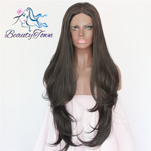 4# Synthetic Heat Resistant Fiber Black Color Natural Wave High Density Cosplay Fashion Party Synthetic Lace Front Wig(China (Mainland))