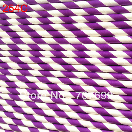 Free DHL Shipping $100 Above Party supplies Paper Straws, Striped Paper Straws, Drinking Paper Straws purple #254C 500pcs(China (Mainland))