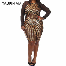 Buy TAUPIN AM Plus size gold sequin dress black long sleeve mesh club party bodycon dress big sizes dresses autumn glitter dress for $18.90 in AliExpress store