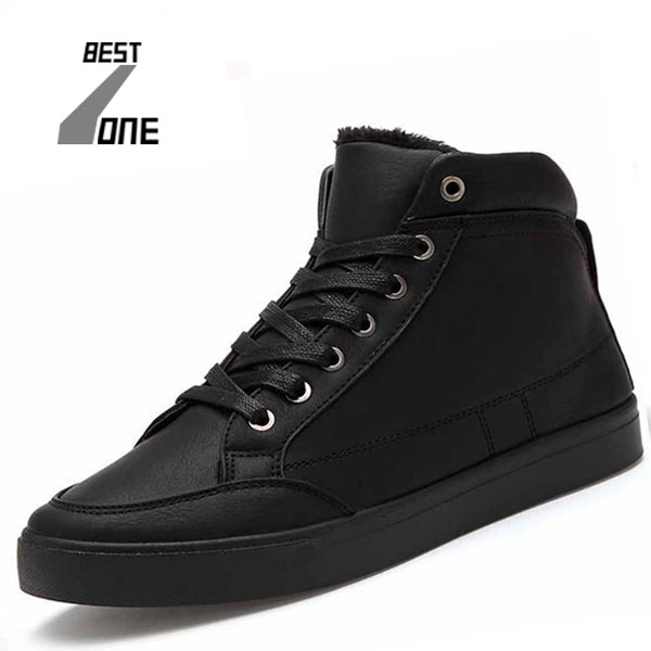 BZ New 2016 High Top Men Shoes Winter PU Leather Fur Casual shoes Fashion Zapatos Hombre Warm Lace Black Mens BRM