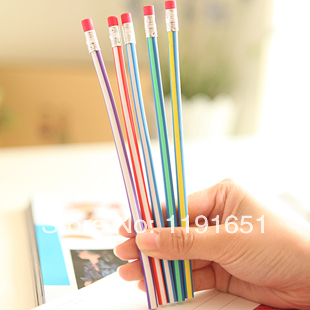 Free shipping 40pcs/lot  18cm bendable flexible soft fun pencil with eraser toys gifts prize kids school<br><br>Aliexpress