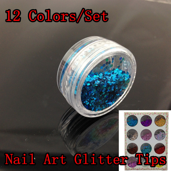 [NGZ-012]12 Colors Nail Art Glitter Tips Decoration, Shiny Metal Flakes Tools Set + - Blingway Care products Co., Ltd. store