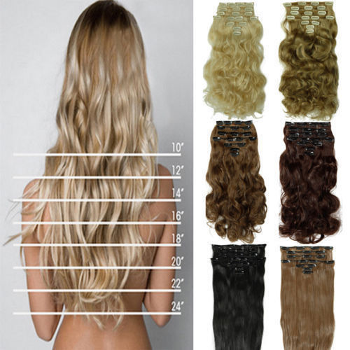 "free shipping 24""(60cm)8pcs set 170g Long Curly/Wavy Synthetic Hair Clip in on hair extensions Black Brown Blonde hair pieces(China (Mainland))"