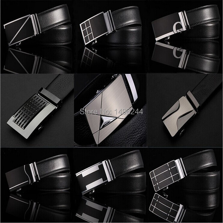 free shipping Men's strap man genuine leather cowskin automatic buckle belts men cowleather belt widened cattle hide cow split(China (Mainland))
