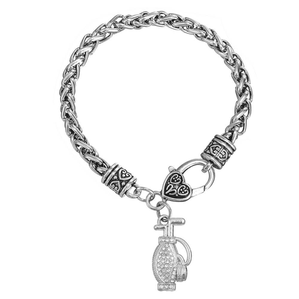 Clear crystals rhodium filled golf bag charm bracelet jewelry(China (Mainland))