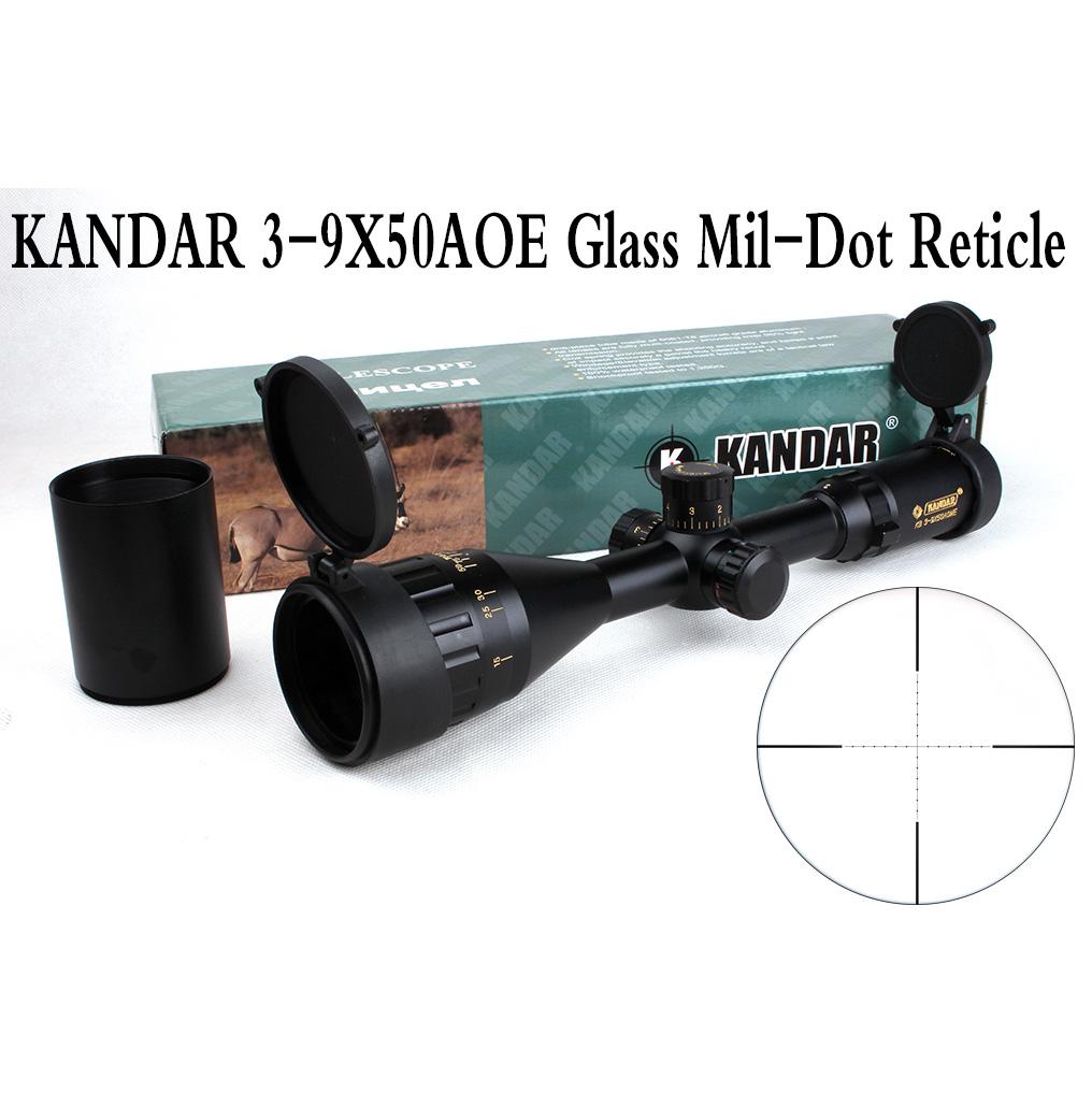 Фотография Tactical Optical Sight Gold Edition KANDAR 3-9x50 AOME Glass Mil-dot Reticle Locking RifleScope Hunting Rifle Scope