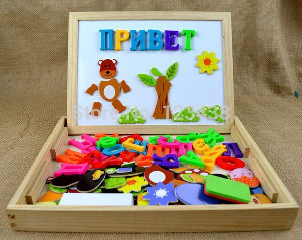 Russian Alphabet Multifunctional Wooden Animal Magnetic Puzzle Drawing Board Learning & Education Toys Hobbies for Children(China (Mainland))