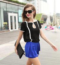Fashion Vintage Summer Women Blouses Short Sleeve Patchwork Contrast Color Chiffon Blouse Casual Cute Blusas Tops Shirt Women(China (Mainland))