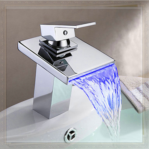 Bathroom Sink Faucet With Led Light Contemporary Waterfall Vessel Faucets Chrome Finish Brass