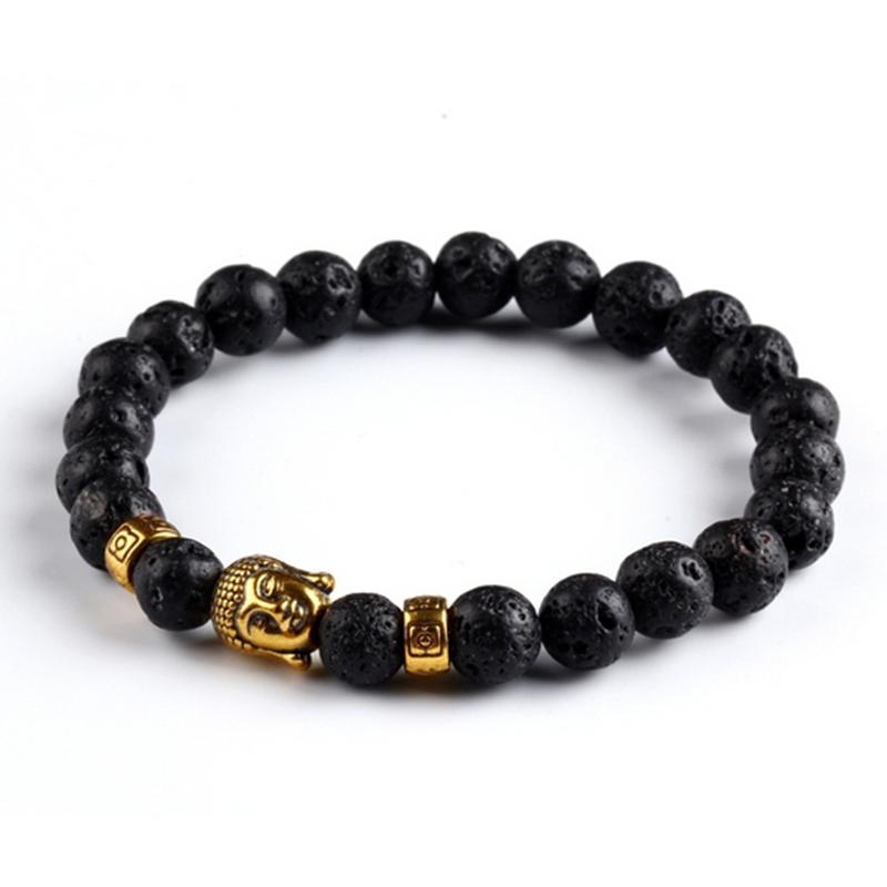 2016 Fashion lava stone natural agate stone Buddha head bracelet jewelry gold Buddha male and female models B264(China (Mainland))